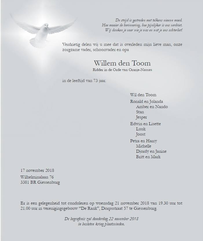 Ter kennisgeving W. den Toom